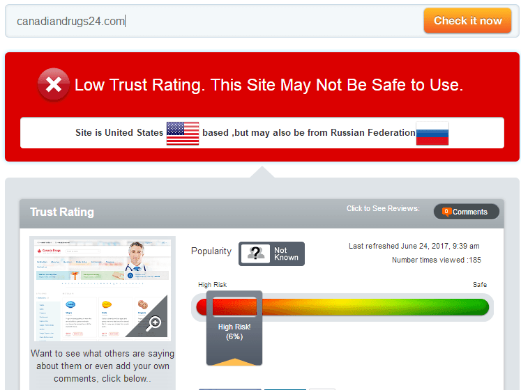 Canadiandrugs24.com Trust Rating