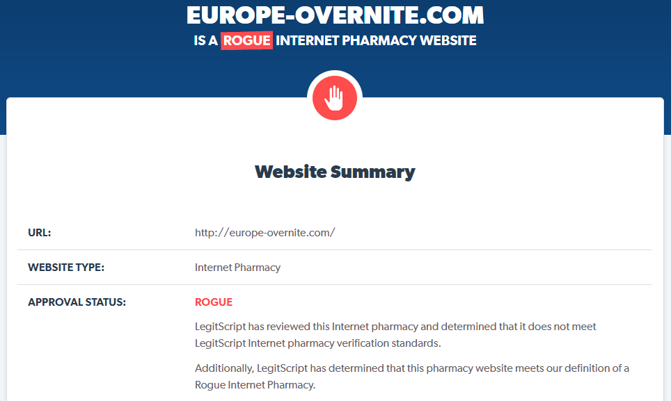 Europe-overnite.com Is a Rogue Internet Pharmacy