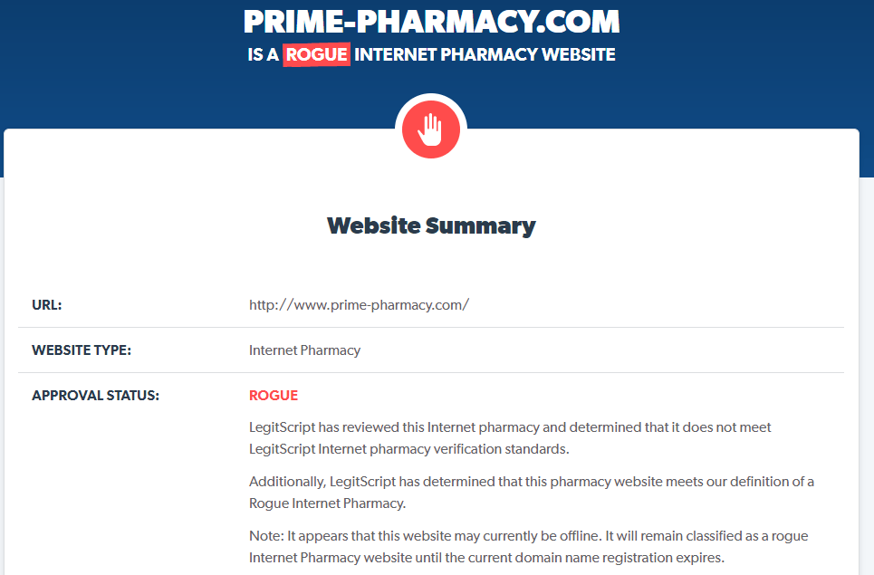 Prime-pharmacy.com is a Rogue Internet Pharmacy