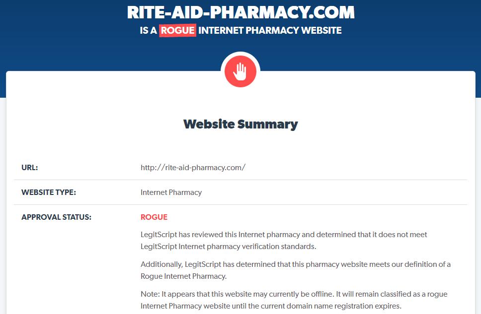 Rite-aid-pharmacy.com is a Rogue Website