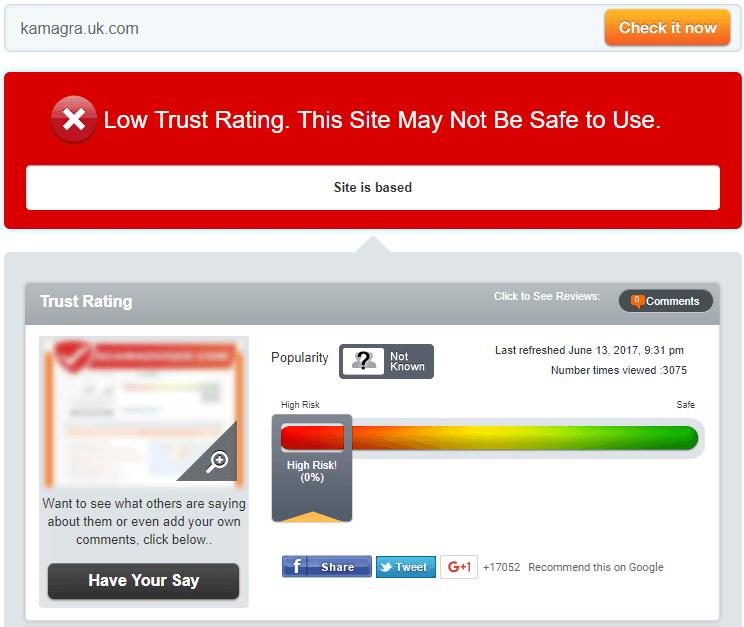 Kamagra.uk.com Trust Rating